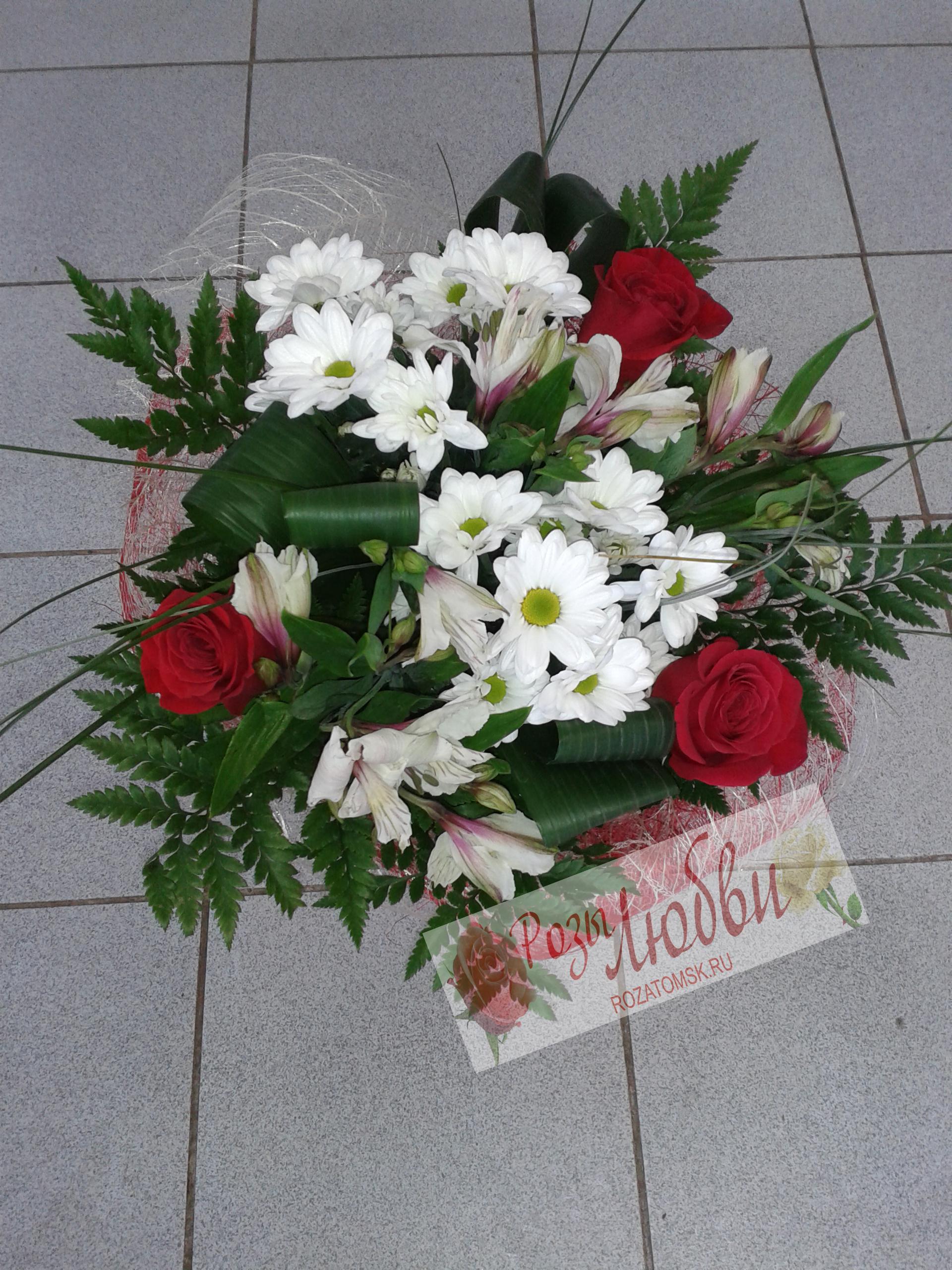 Цветы букеты из роз и хризантем фото